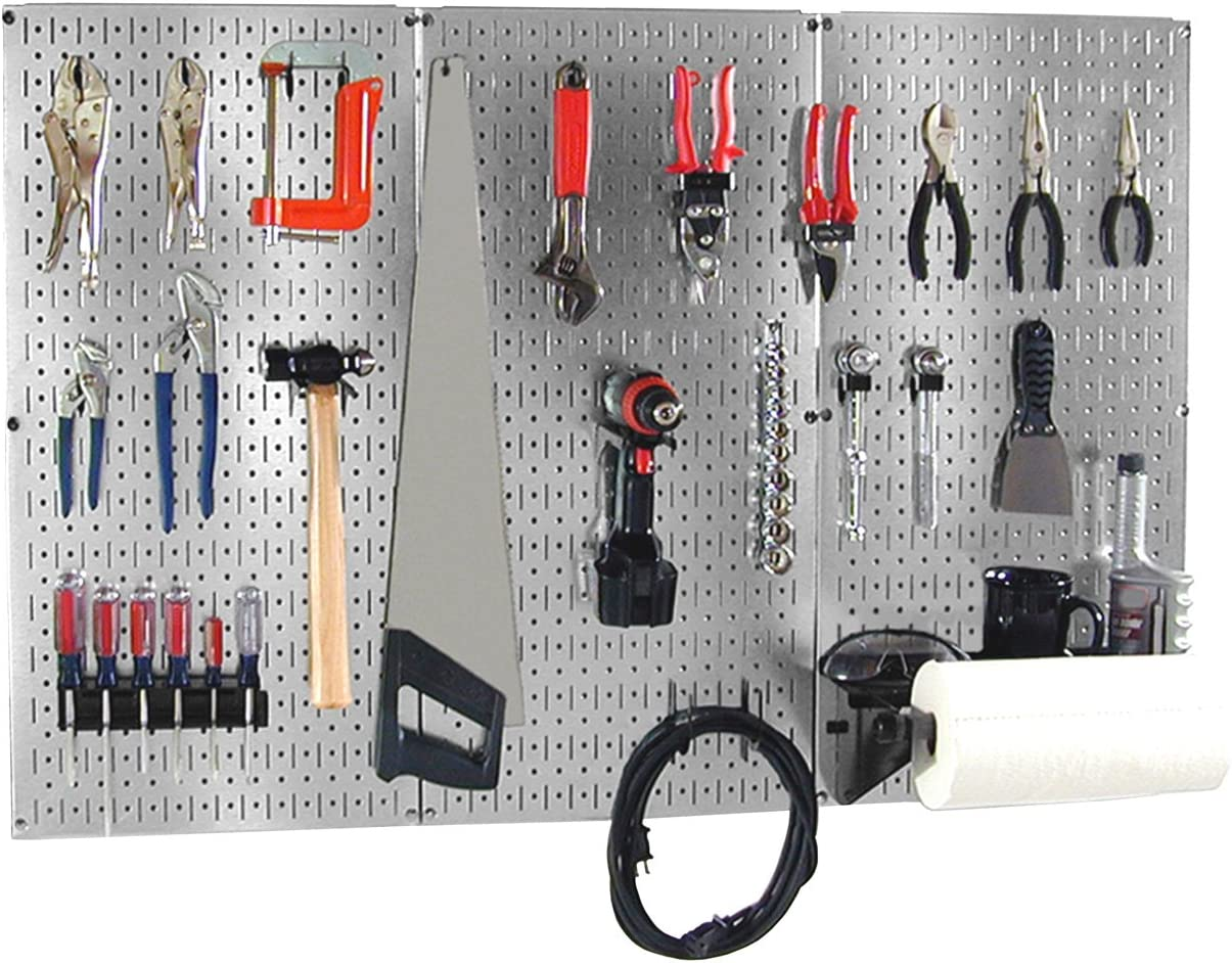Wall Control 30BAS300GVB 4-Feet Metal Pegboard Basic Tool Organizer Kit with Galvanized Toolboard and Black Accessories