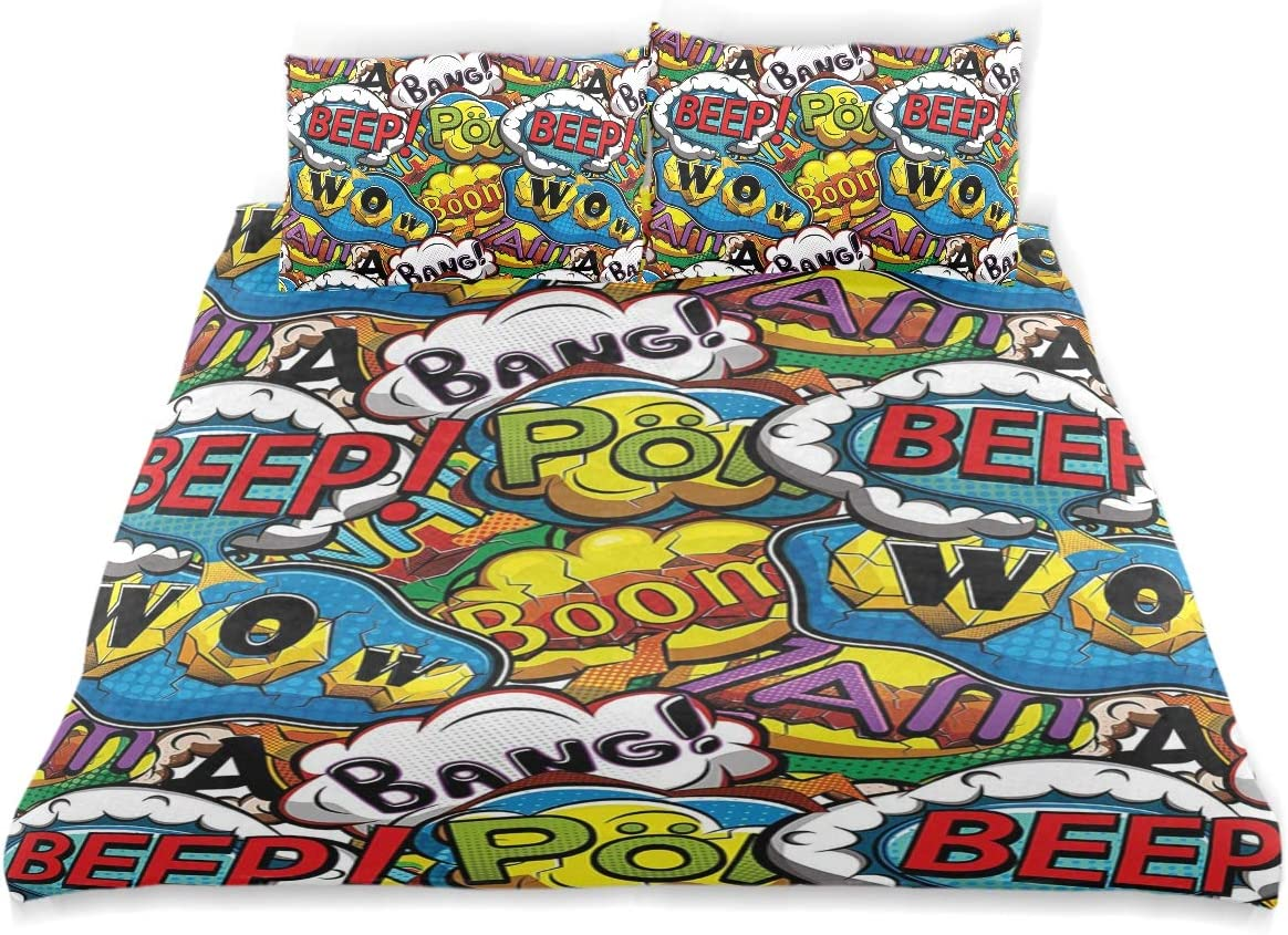 Minalo Duvet Cover Set Comics Speech Bubbles Beep Wow with Vivid Old Effects Boys Supernatural Print Decorative 3 Piece Bedding Set with 2 Pillow Shams Twin Size