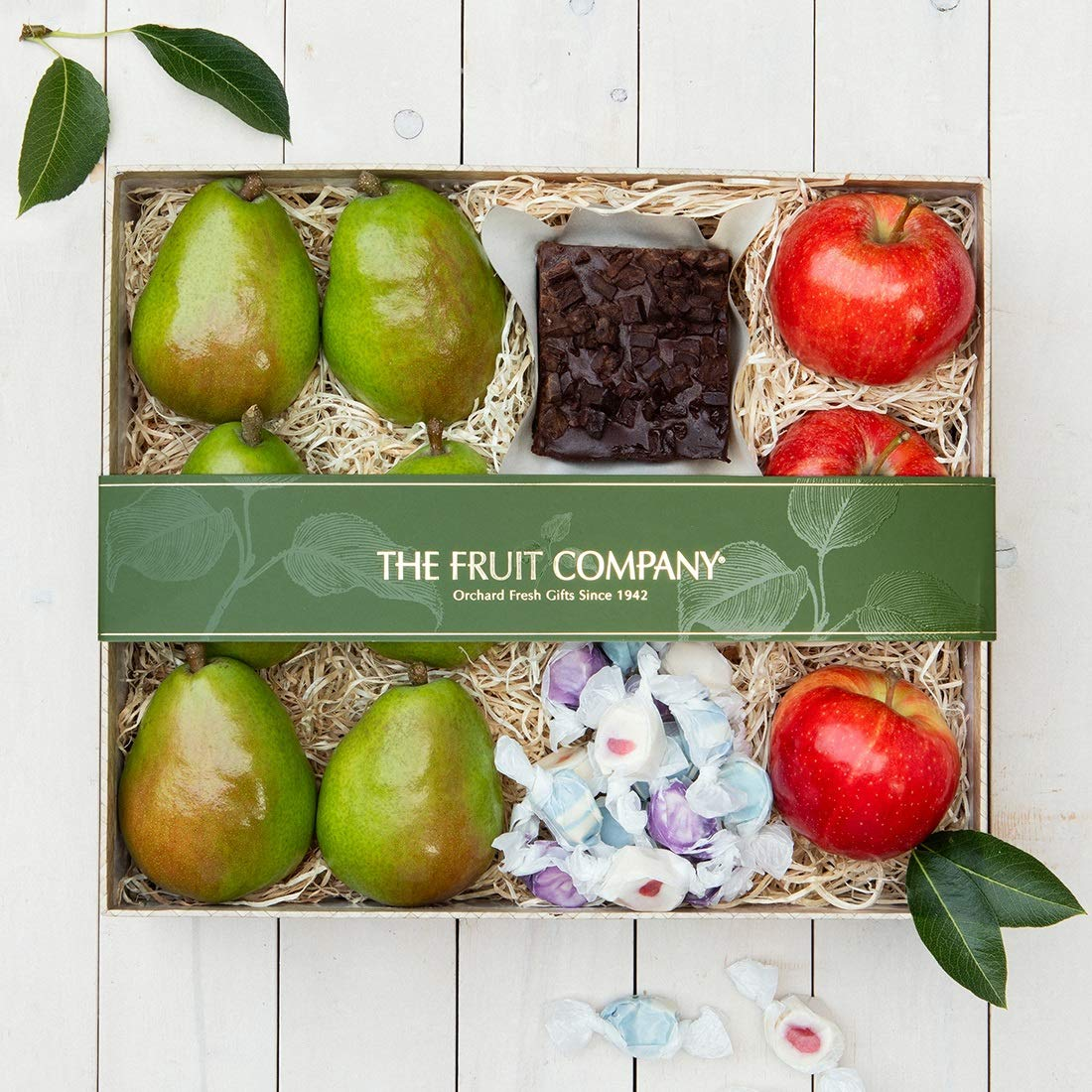 The Fruit Company - Oregon's Finest Summer Gift Box -9 Pieces Premium Fresh Fruit - Fuji Apples and Pears Chocolate Ganache Brownie & Fruit Inspired Taffy Comes in a Bamboo Print Box