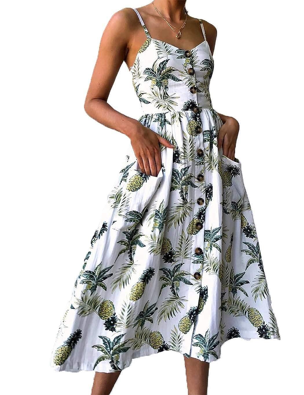 cioler Damen Sommerkleider Blumen /Ärmelloses Swing Spagettitr/ägern Cocktailkleid Strandkleid Party Abendkleid