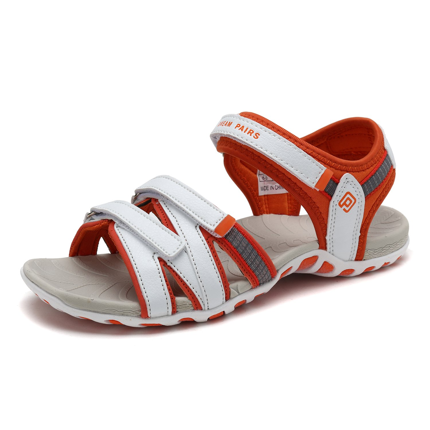 DREAM PAIRS Women's 160912-W Adventurous Summer Outdoor Sandals B0788V6QXN 5.5 B(M) US|White/Orange