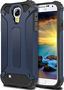 WOLLONY Galaxy S4 Case, Rugged Hybrid Dual Layer Hard Shell Armor Protective Back Case Shockproof Cover for Galaxy S4 Case - Slim Fit - Heavy Duty - Impact Resistant Bumper(Deep Blue)