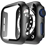 Tauri 2 Pack Hard Case Compatible for Apple Watch SE Series 6 5 4 40mm Built in 9H Tempered Glass Screen Protector Slim Bumpe