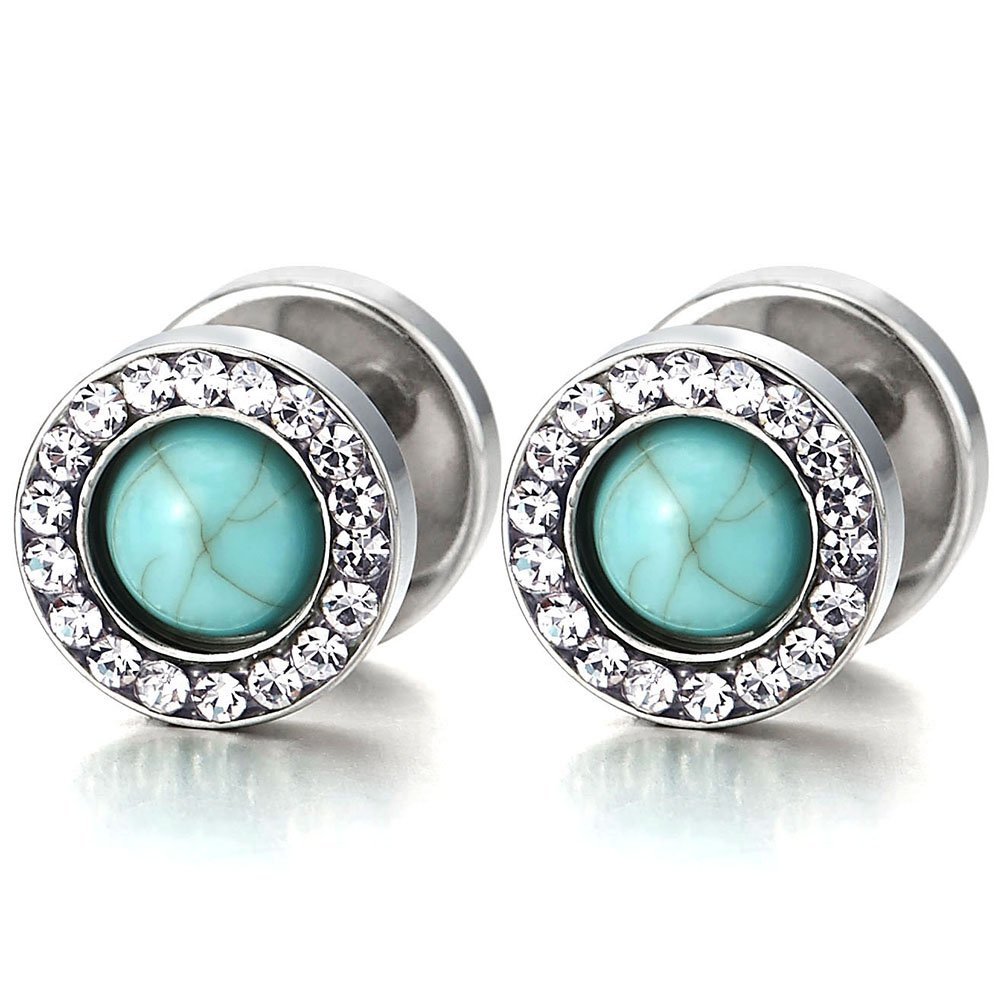 2 Herren Damen Ohrringe mit Blau Synthetischen Türkis und Zirkonia Edelstahl Ohrstecker Fake Plugs Tunnel Ohr-Piercing COOLSTEELANDBEYOND FE-220-A