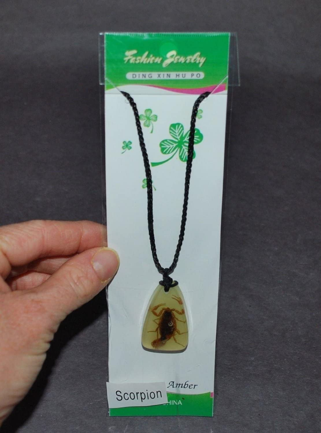 AWESOME SCORPION Necklace GLOW IN THE DARK Replica Fossil Amber KIDS LOVE THEM!!