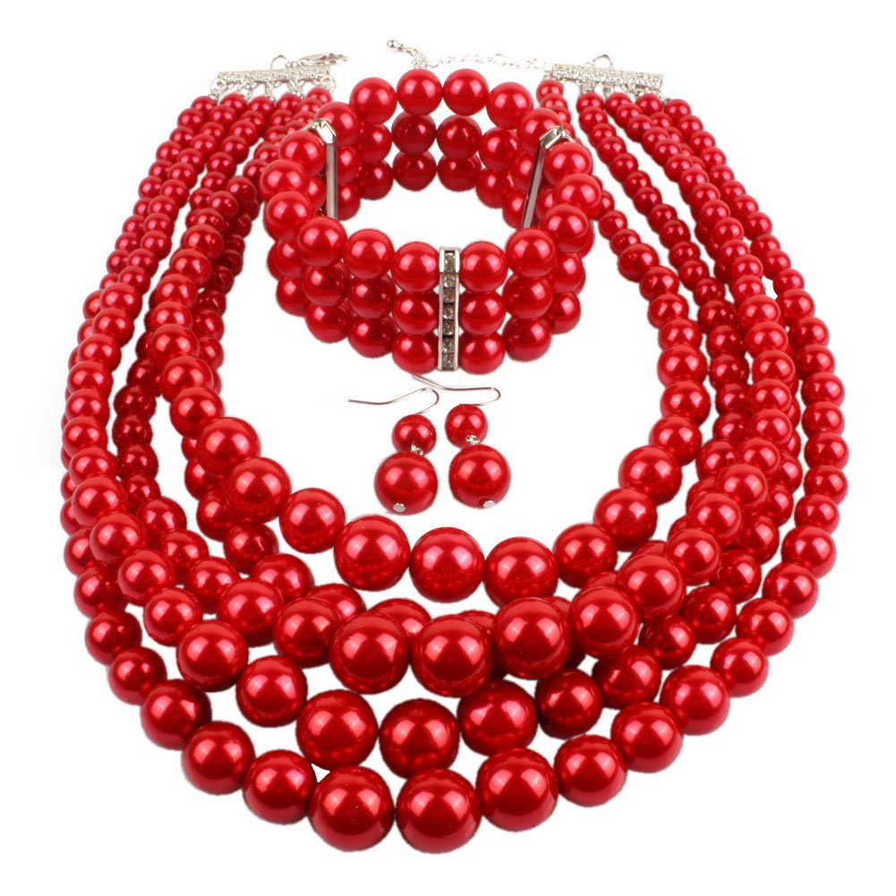 KOSMOS-LI Multi Layer Pearl Strand Necklace Bracelet And Earring Imitate Red Pearl Jewelry Set