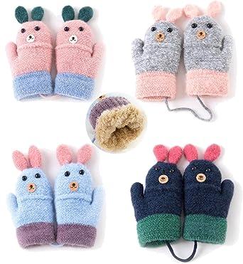 Amazon 4 Pairs Kids Winter Warm Sherpa Lined Knit Mittens