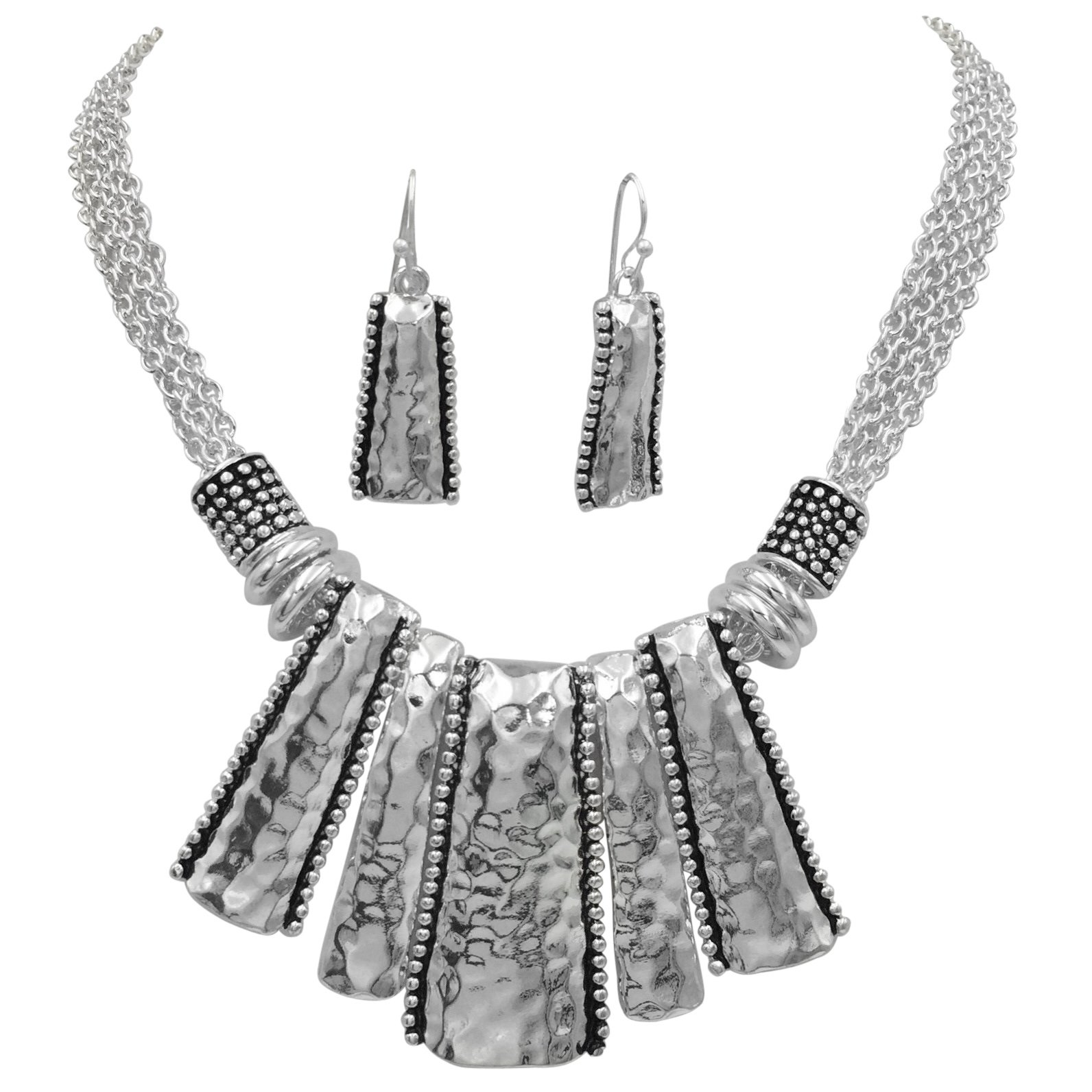 Gypsy Jewels Unique Boutique Style Bib Statement Necklace & Dangle Earring Set (Hammered Stick Silver Tone)