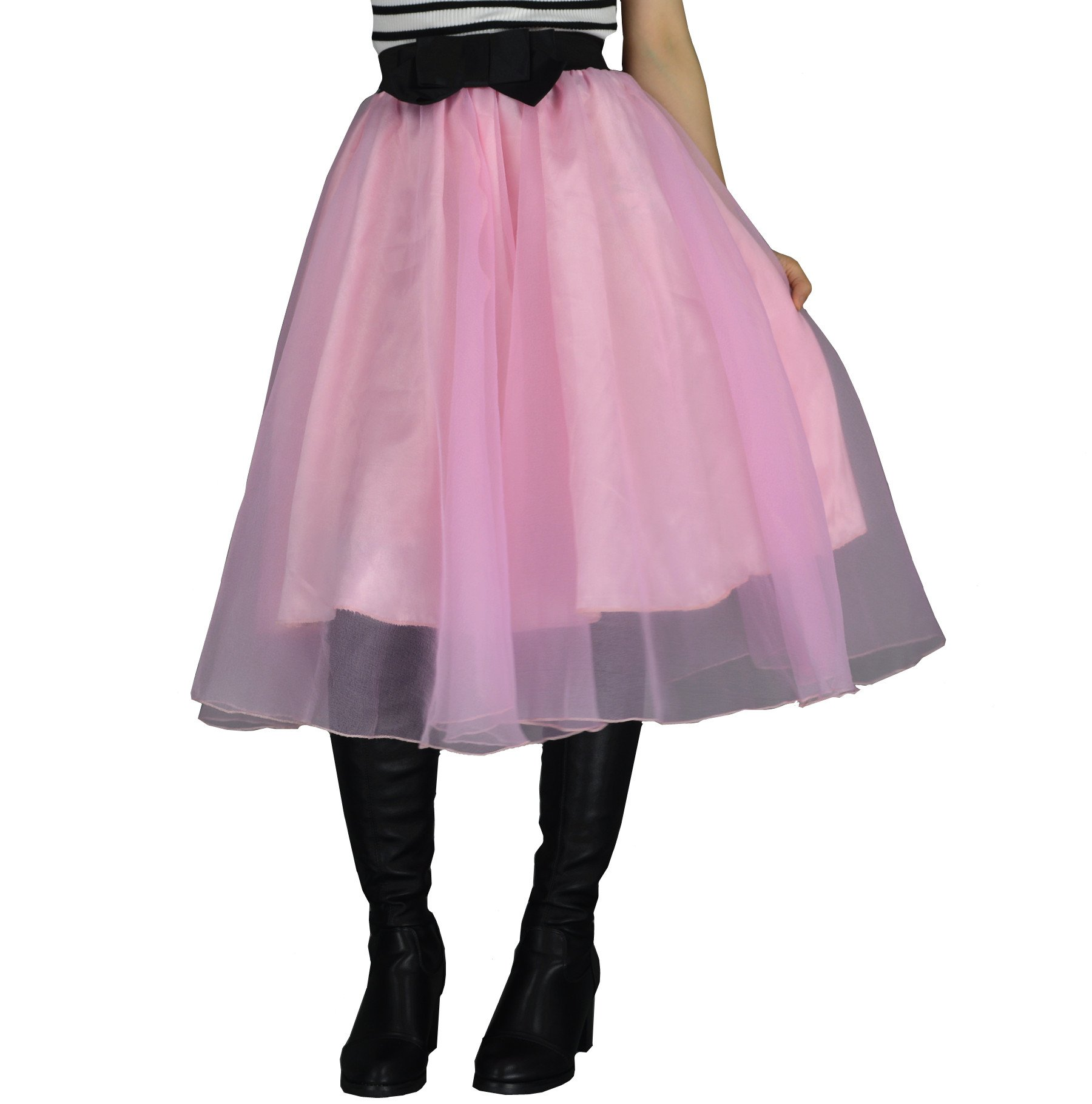 YSJERA Lady's Organza Princess Skirt Bowknot A Line Pleated Midi/Knee Length Tutu Party Skirts (XL,Pink)