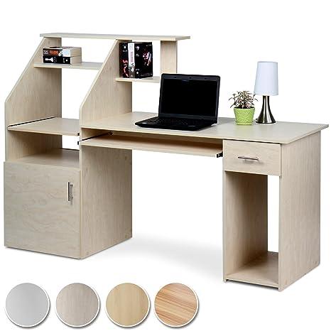 MIADOMODO Schreibtisch Bürotisch mit ausfahrbarer Tastaturablage und vielen  Ablagemöglichkeiten in 4