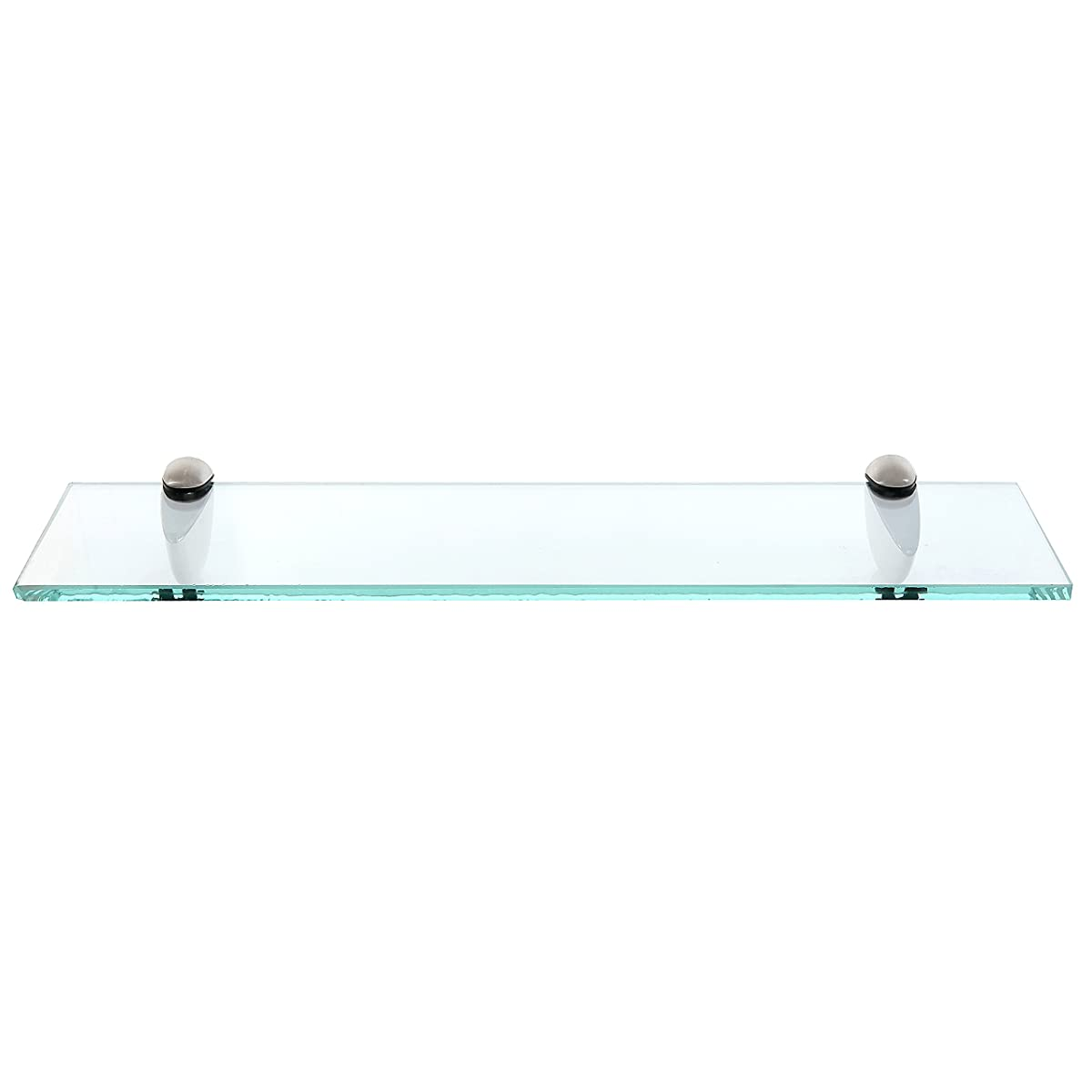MyGift 20-Inch Clear Glass Floating Shelf with Metal Base/Wall-Mounted Display Rack for Home, Office & Retail