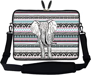 Meffort Inc 17 17.3 inch Neoprene Laptop Sleeve Bag Carrying Case with Hidden Handle and Adjustable Shoulder Strap - Elephant Wave Pattern
