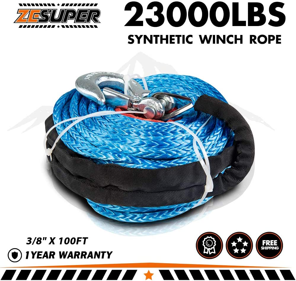 100ft Mophorn Green Synthetic Winch Line Five Sixteenth Inch X100FT Synthetic Winch Rope 13000 LBS Tow Rope for Car with Sheath