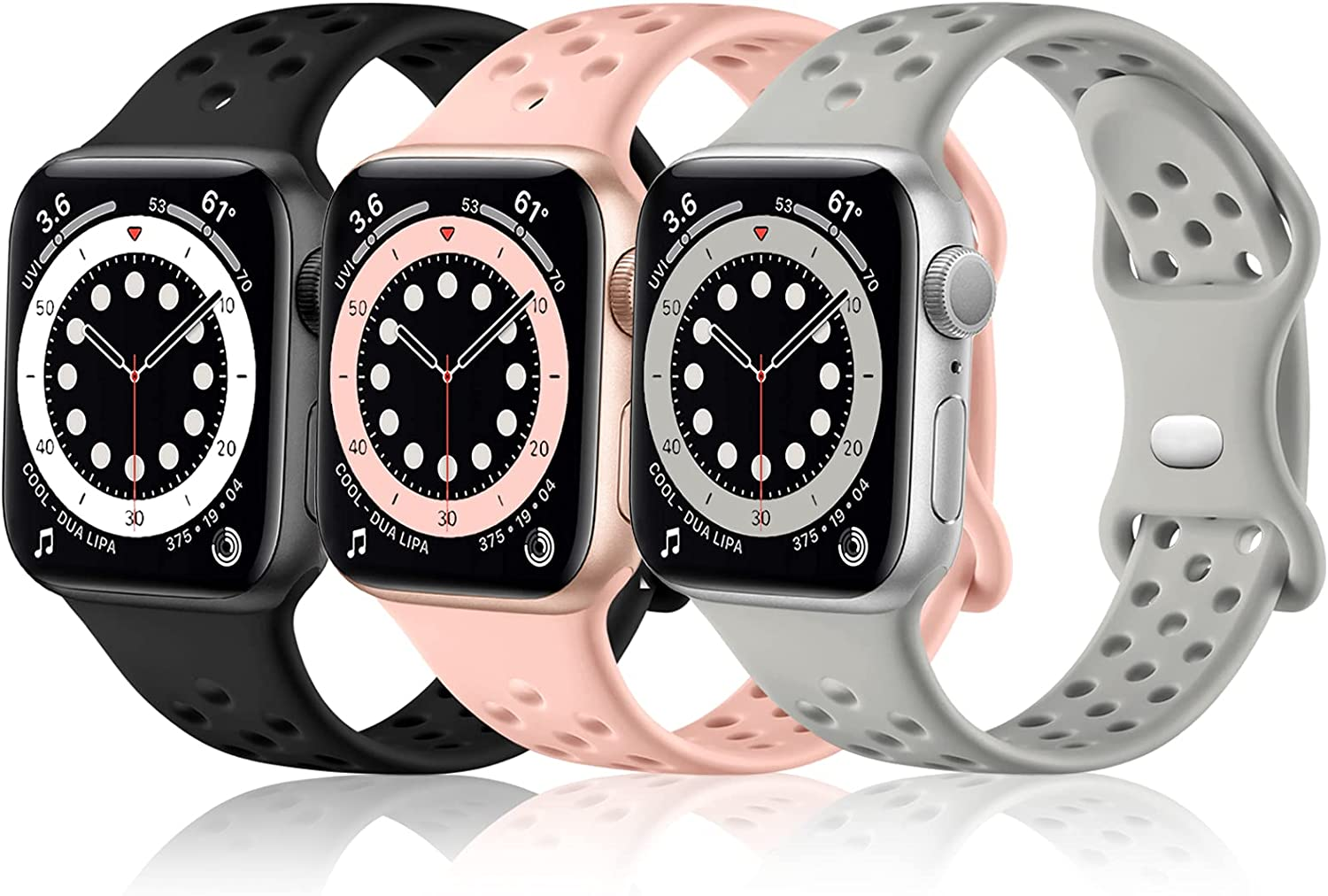 Rubinom Sport Bands Compatible for Apple Watch Band 40mm 38mm Women Men, Silicone Breathable Holes Replacement Wristband Accessories for iWatch SE Series 6/5/4/3/2/1, 3 Pack of Black/Gray/Pink Sand