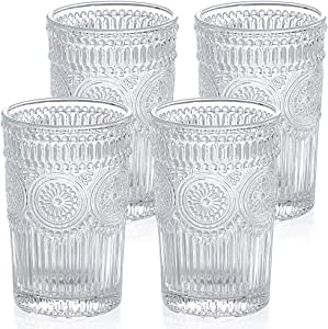 MDLUU Embossed Water Glasses, Romantic Glassware, Vintage Drinking Glasses, Glass Tumblers for Juice, Beverages, Cocktail, Capacity 12.5oz/370ml, Set of 4