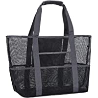 Mesh Beach Bag,Toy Tote Bag with Waterproof Inside Pockets for iPad,Lightweight & Foldable Mesh Tote Bag for Beach…