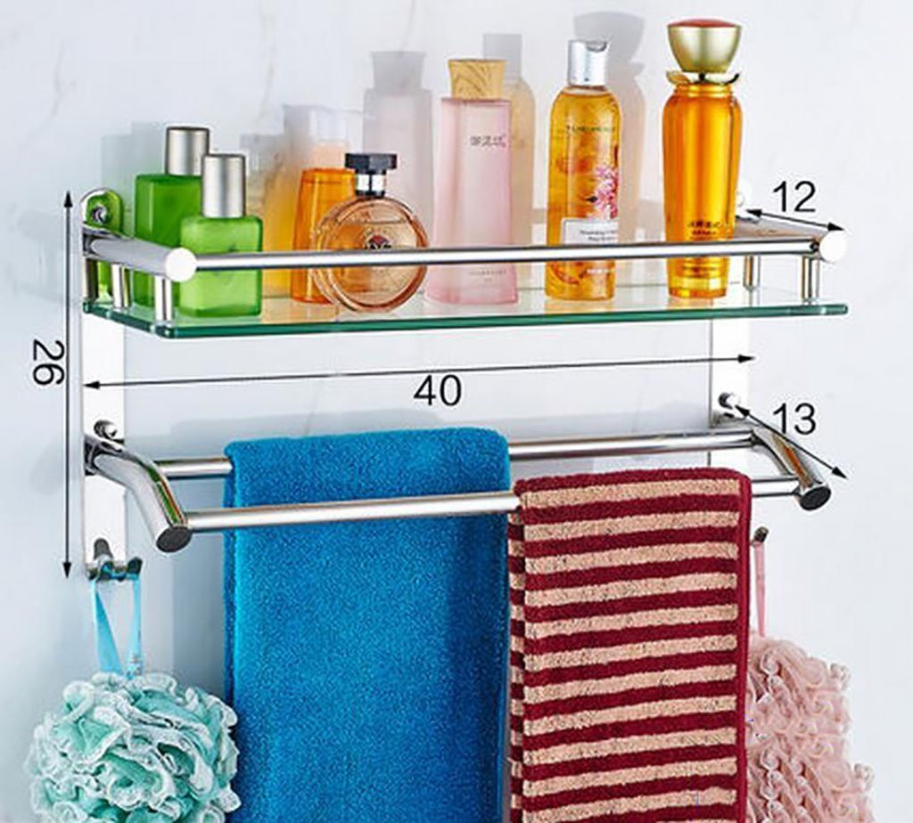 YAOHAOHAO Bathroom shelves shelving bath rooms in glass, 304 stainless steel towel rails, bath rooms, glass shelving to the wall (Color 3