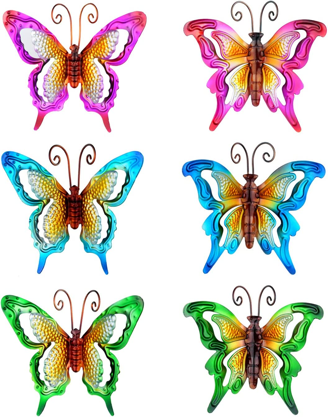 6 Pieces Butterfly Decor, Metal Butterfly Wall Art Ornaments, Red Green Blue Hovering Butterflies for Indoors-Bathroom Bedroom Living Room Dining Room or Outdoors-Garden Yard Fence Tree (6.5-Inch)