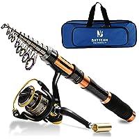 Ecoolbuy 3 Packs Spinning Canne À Pêche Bobine Combo 99% Carbone Télescopique Rétractable Mini Ultra Léger 1.8M 2.1M 2.4M 3.0M 3.6M Tige avec 12BB Fising Reel et Sac De Pêche