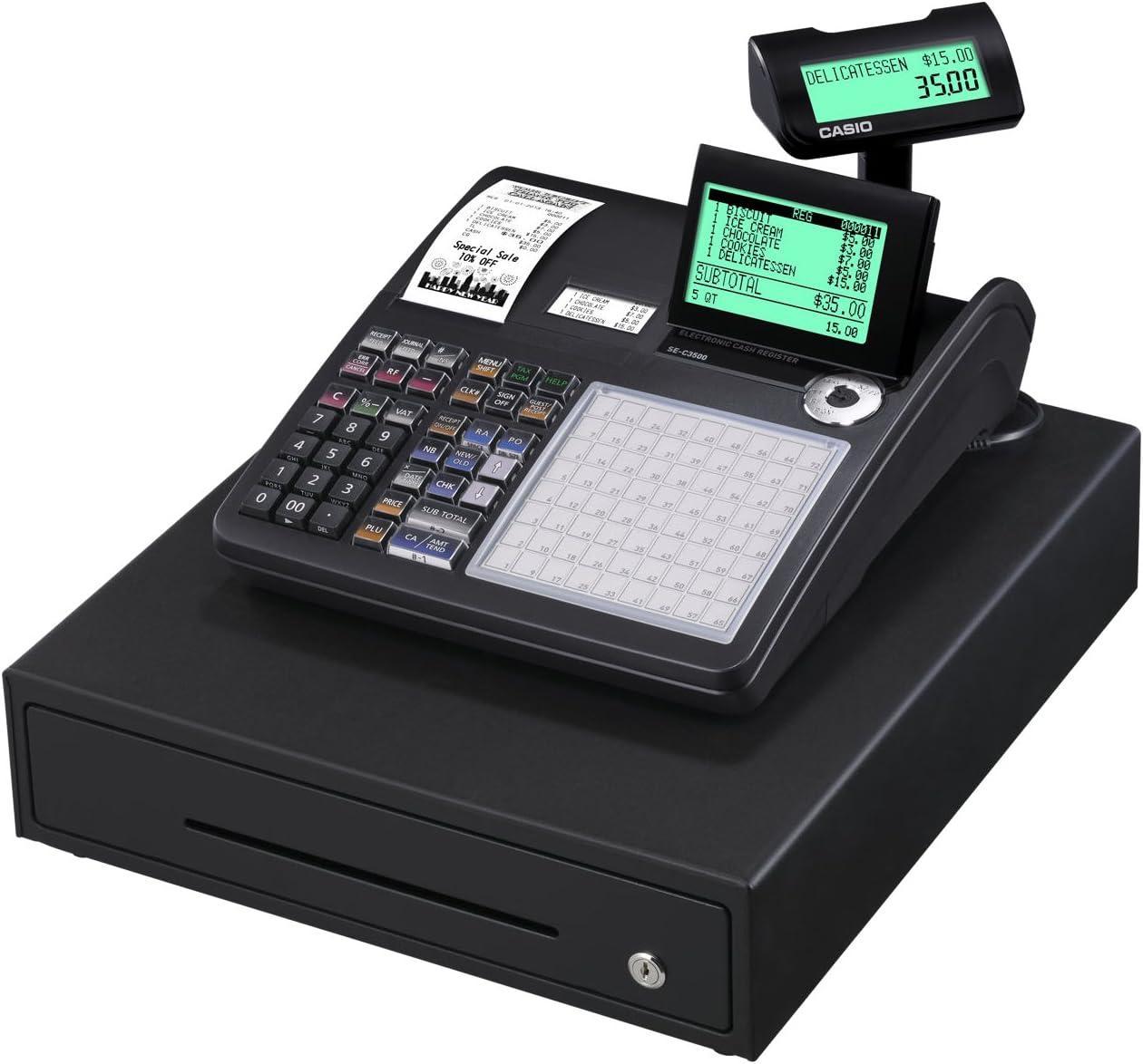 Casio SE-C3500MB-FIS GDPdU a habilitar caja registradora incluyendo licencia de software, tarjeta SD y la batería paquete completo y línea telefónica gratuita, negro