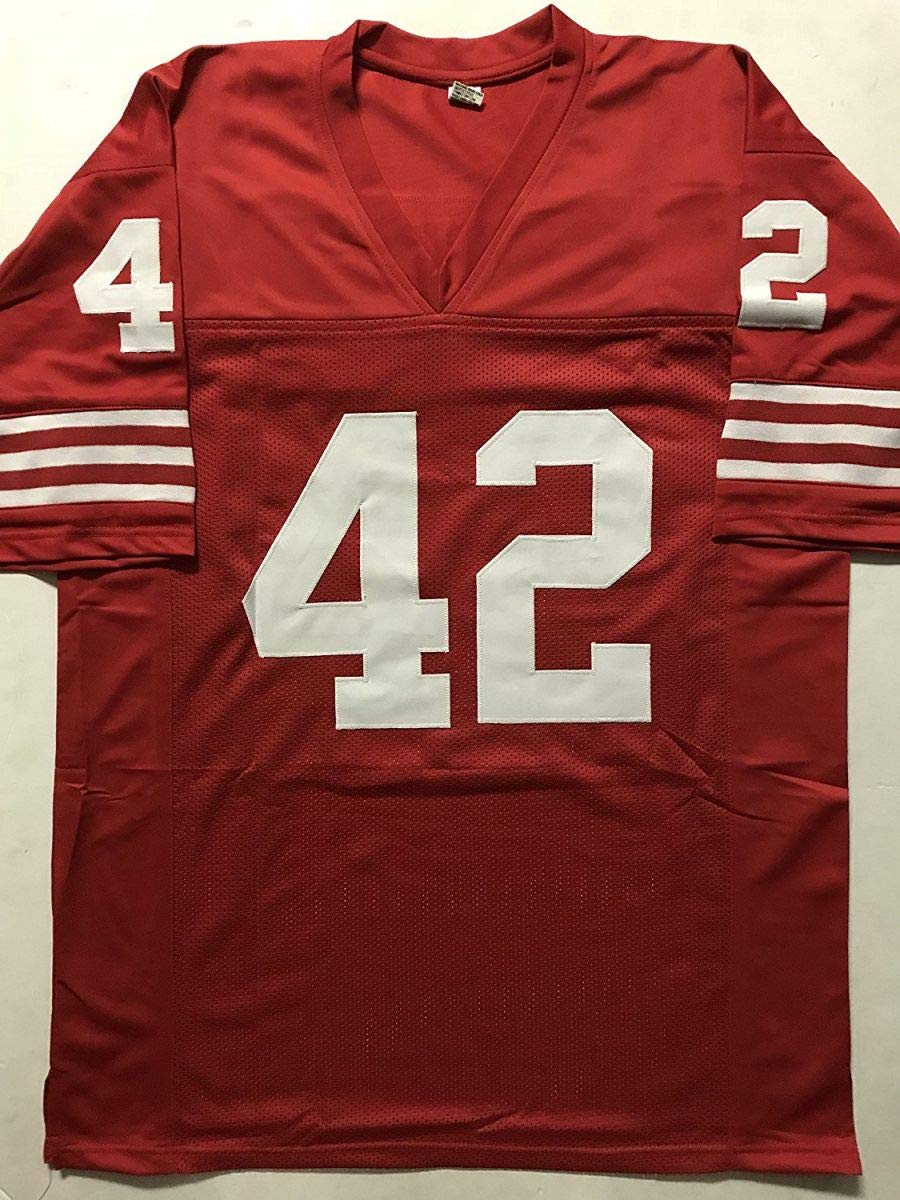 Autographed/Signed Ronnie Lott San Francisco Red Football Jersey JSA COA