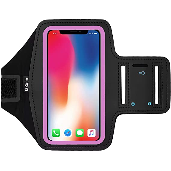 on sale c4f15 f5b13 i2 Gear Cell Phone Armband Case for Running - Workout Phone Holder with  Adjustable Arm Band and Reflective Border - Large Armband for iPhone X XS  ...