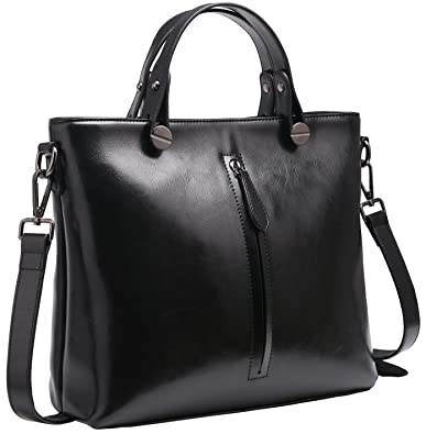 076afa6b2d5b Amazon.com  Heshe Womens Leather Shoulder Handbags Work Totes Top Handle Bag  Satchel Designer Purse Cross Body Bags (Black-R)  Shoes