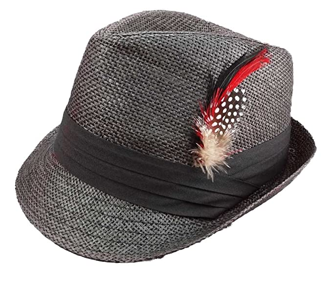 Apparel Sector Straw Fedora Hats for Men Black with Fashion Feather (Large 88f17bcfccd