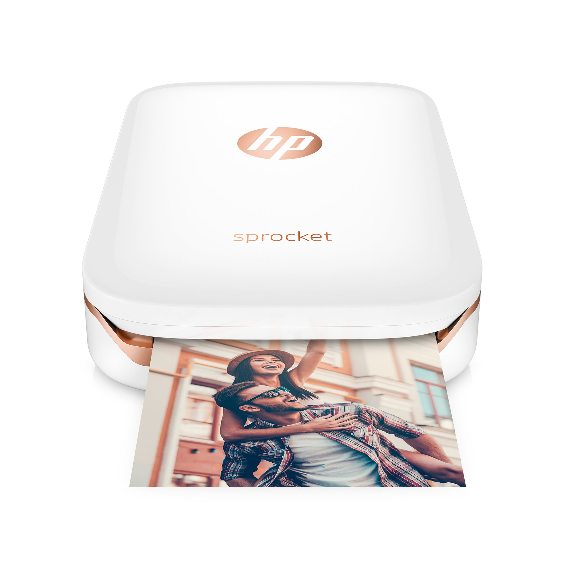 HP Sprocket Portable Photo Printer, X7N07A, Print Social Media Photos on 2x3 Sticky-Backed Paper - White by HP