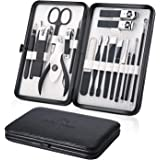 Manicure Set 18pcs Professional Grooming Kit - Stainless Steel Nail Clippers Kit for Men and Women (Black)