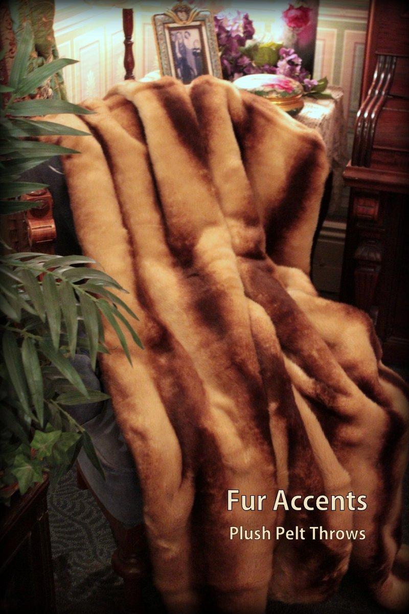 Fur Accents Throw Blanket Brown Chinchilla Mink Faux Fur /60'' X 70''