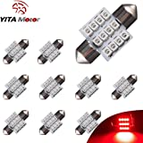 "YITAMOTOR Red 31mm(1.25"") 3528 12-smd 12v Festoon Dome Light LED Bulbs De3175 De3021 De3022 3175(pack of 10)"