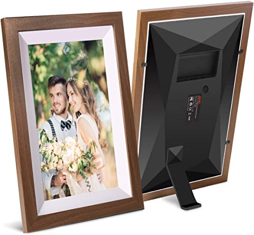 JHZL 10.1 Inch 16GB Smart WiFi Digital Picture Frame, Danish Design Frameo App Send Photos or Small Videos from Anywhere, Touchscreen, IPS 1280×800 LCD Panel, Portrait and Landscape Solid Wood Frame