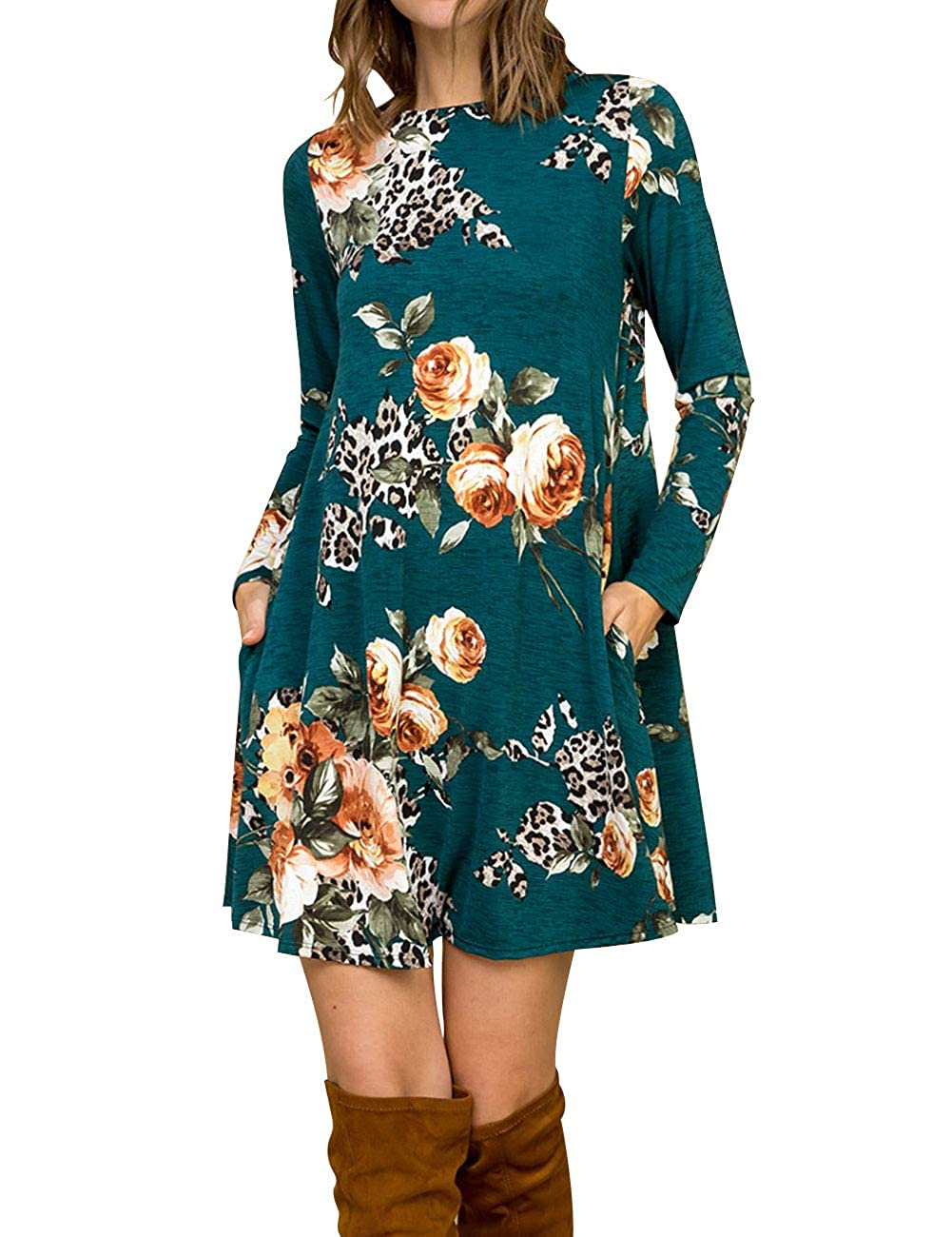 Teal MEROKEETY Women's Long Sleeve Floral Leopard Printed Swing Tunic Dress with Pockets