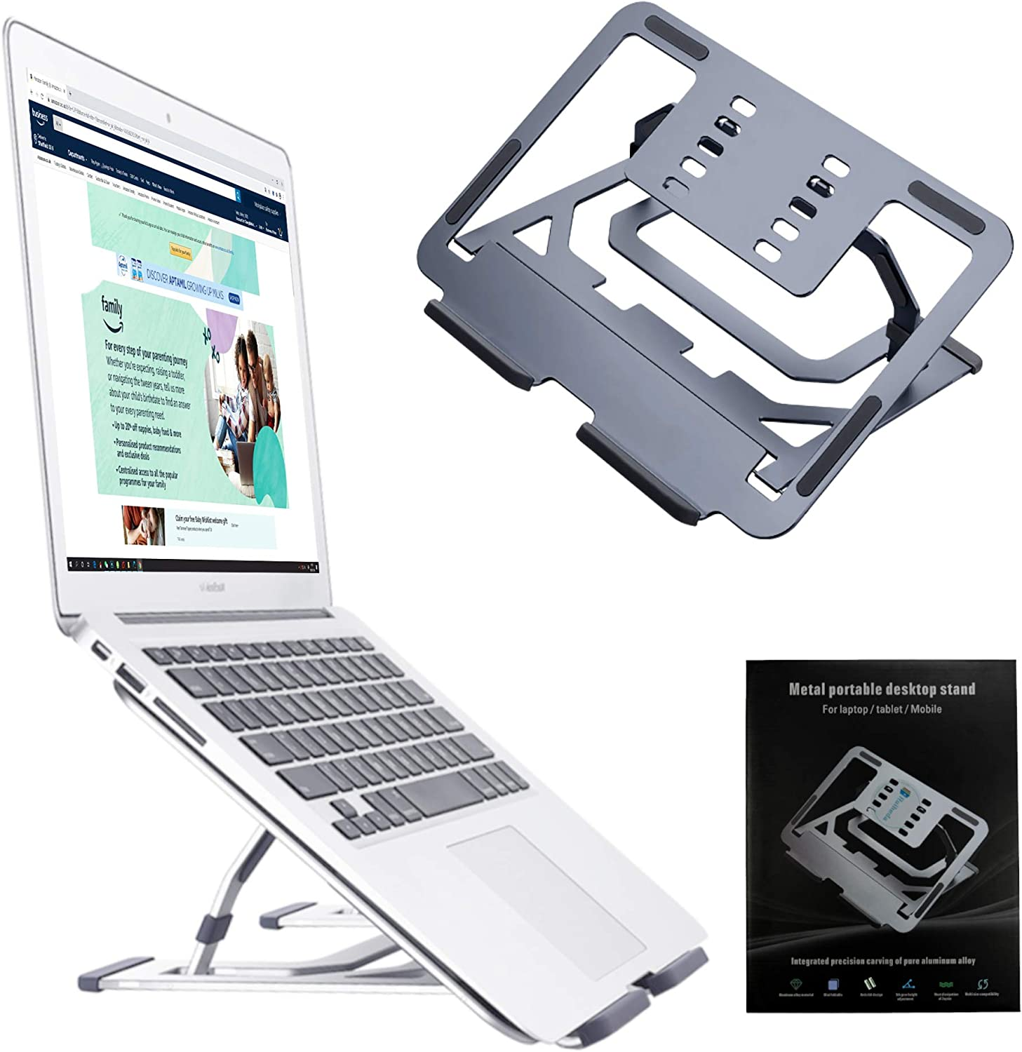 Ruiheda Adjustable Laptop Stand, Aluminum Tray Laptop Holder for Desk WAS £36.99 NOW £29.59 w/code 9X3ATM3P @ Amazon