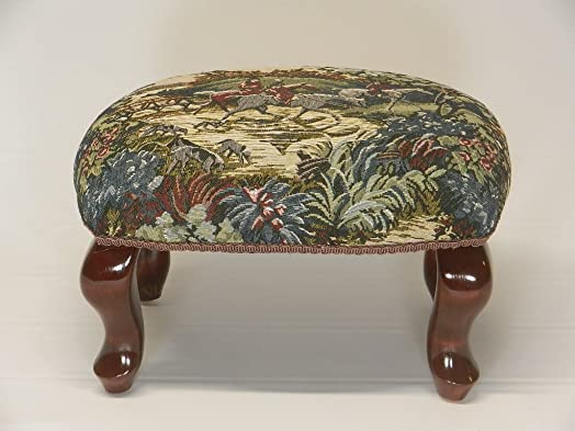 Chicago Stool and Ottoman Co Queen Anne Pictorial Tapestry Footstools English Fox Hunt 2