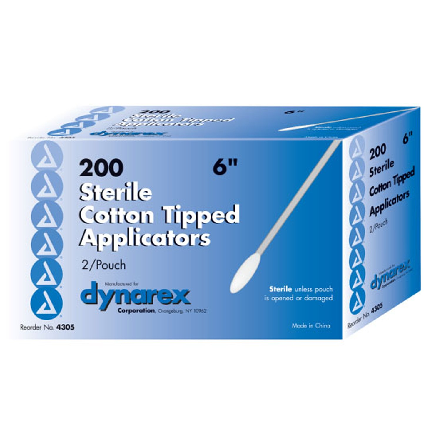 Dynarex Cotton Tipped Applicator, 6 Inches, 2/pouch, Sterile, 100 Applicators (Pack of 10)