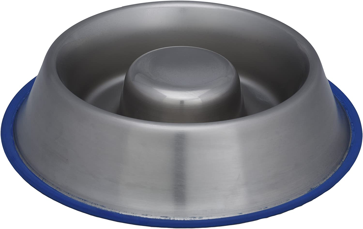 Indipets Heavy Duty Stainless Steel Slow Feed Dog Bowl - Large 45oz - Silicon Bottom Ring Prevents Sliding and Tipping