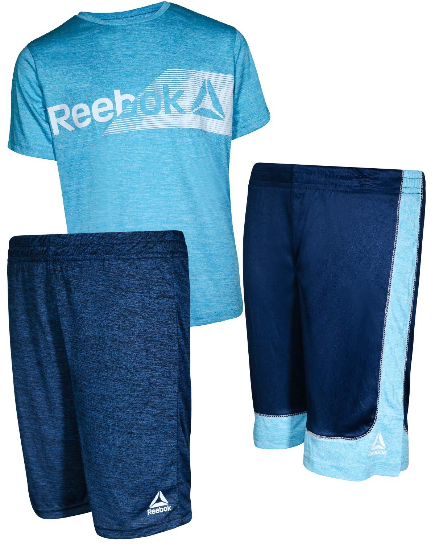 Reebok Boys' 3 Piece Performance Sports T-Shirt and Short Set, Faux Indigo, Size 10'