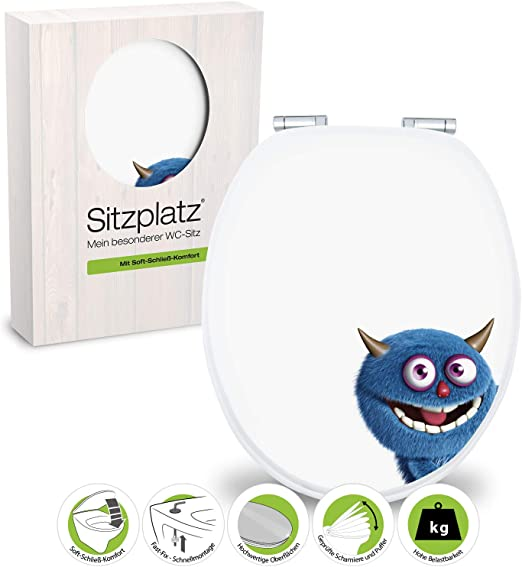 Amazon Com Sitzplatz Ecky 40276 7 Toilet Seat With Soft Closing Comfort And Fast Fix Mechanism Monster Motif By Sitzplatz Home Kitchen