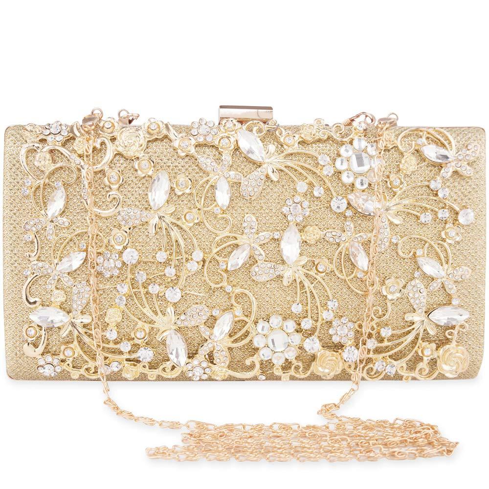 Womens Crystal Evening Clutch Bag Wedding Purses Bridal Prom Handbag Luxury Party Bag … (Gold)