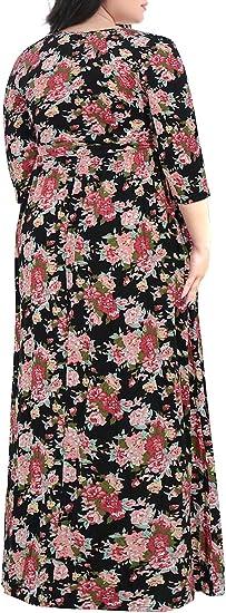 Women's Sleeve Floral Print Plus Size Casual Maxi Dress