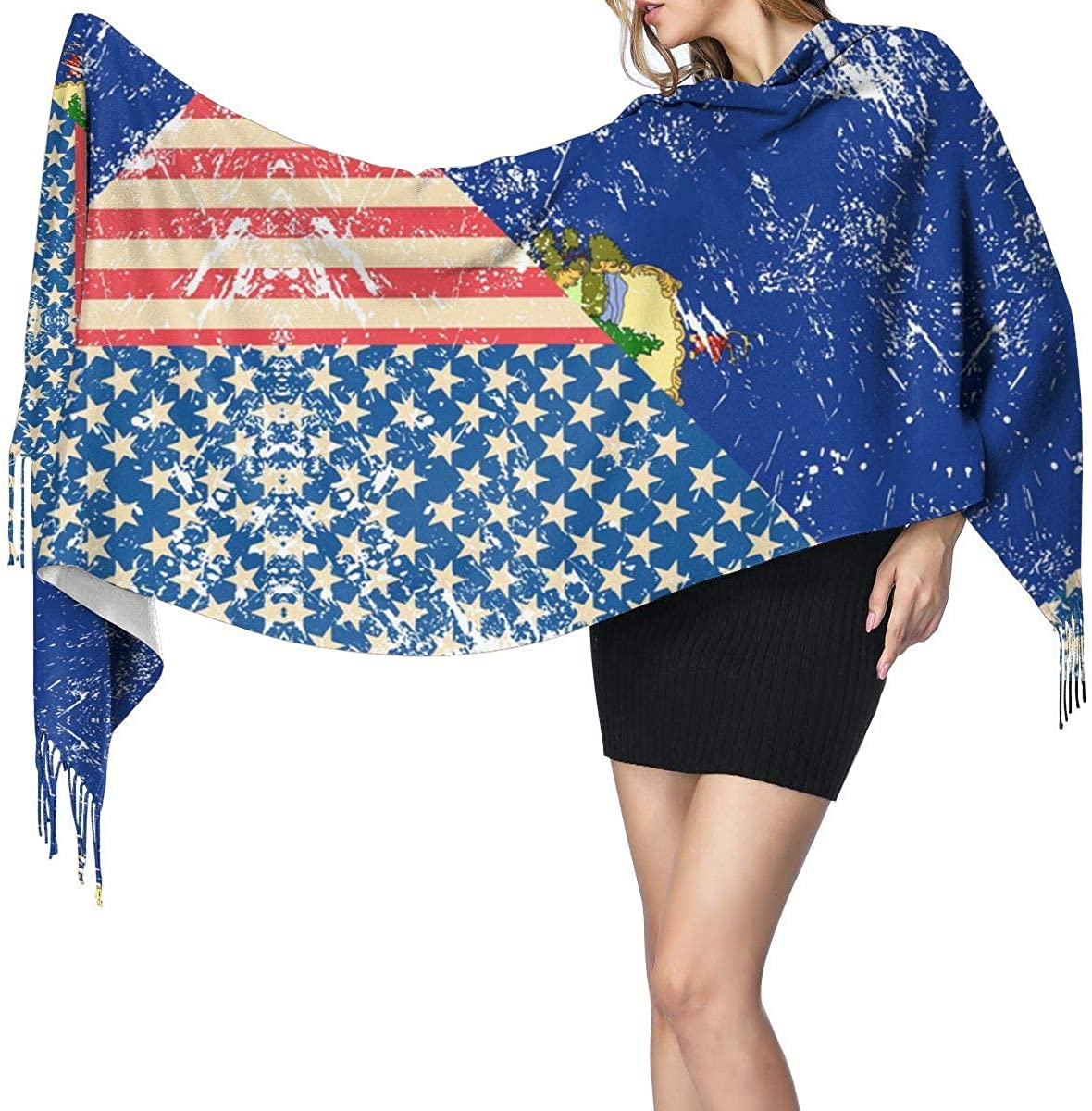 Retro USA and Vermont State Flag Cashmere Scarf Shawl Wraps Super Soft Warm Tassel Scarves For Women Office Worker Travel