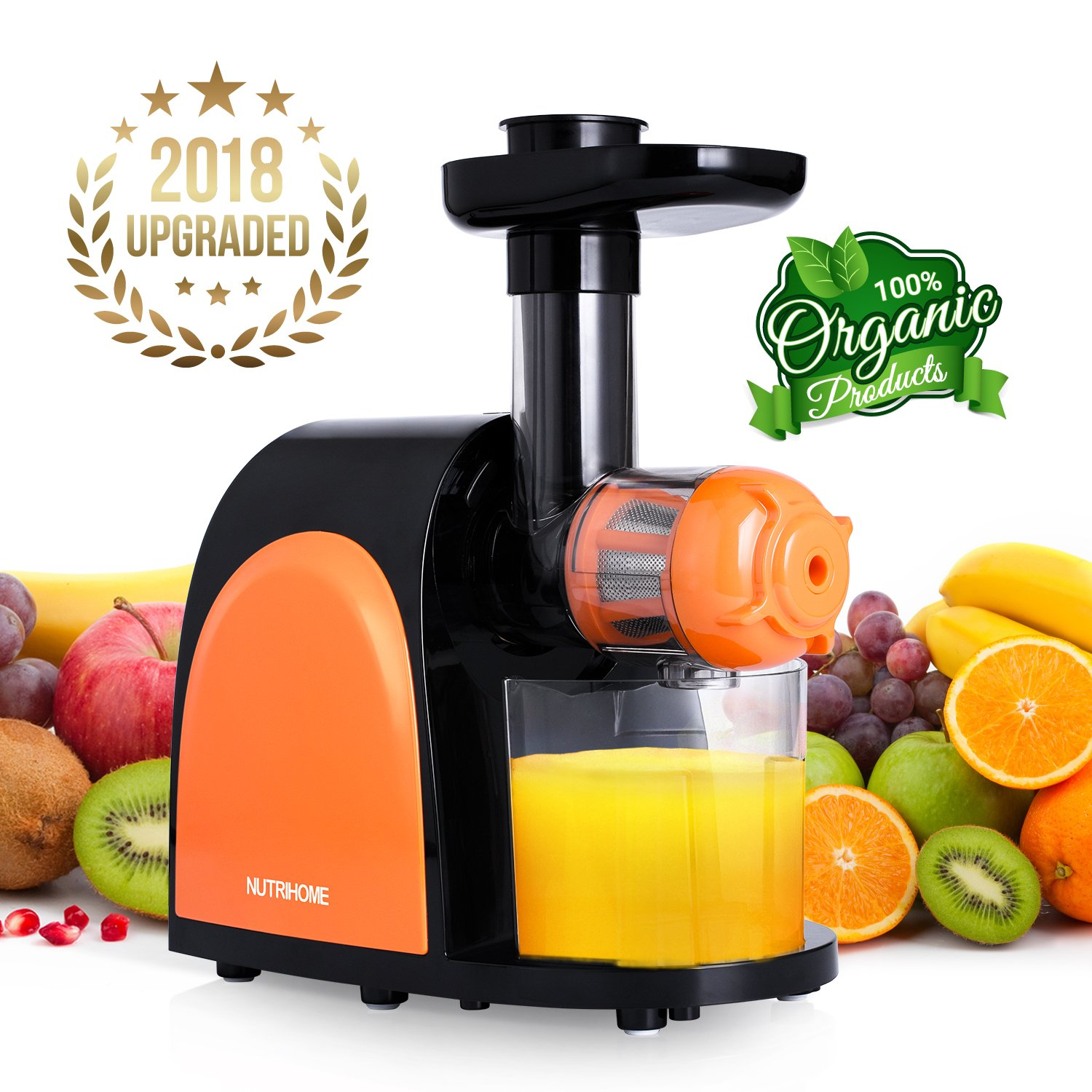 Juicer Slow Masticating Juicer Extractor,Cold Press Juicer Machine, Slow Juicer Extractor with Quiet Motor & Reverse Function,Easy to Clean,Higher Nutrient Fruit and Vegetable juice Chefmos