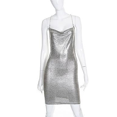 Party Dresses Women Strap Chains Cross Bandage Vestidos Short Bodycon Dress,Silver,S