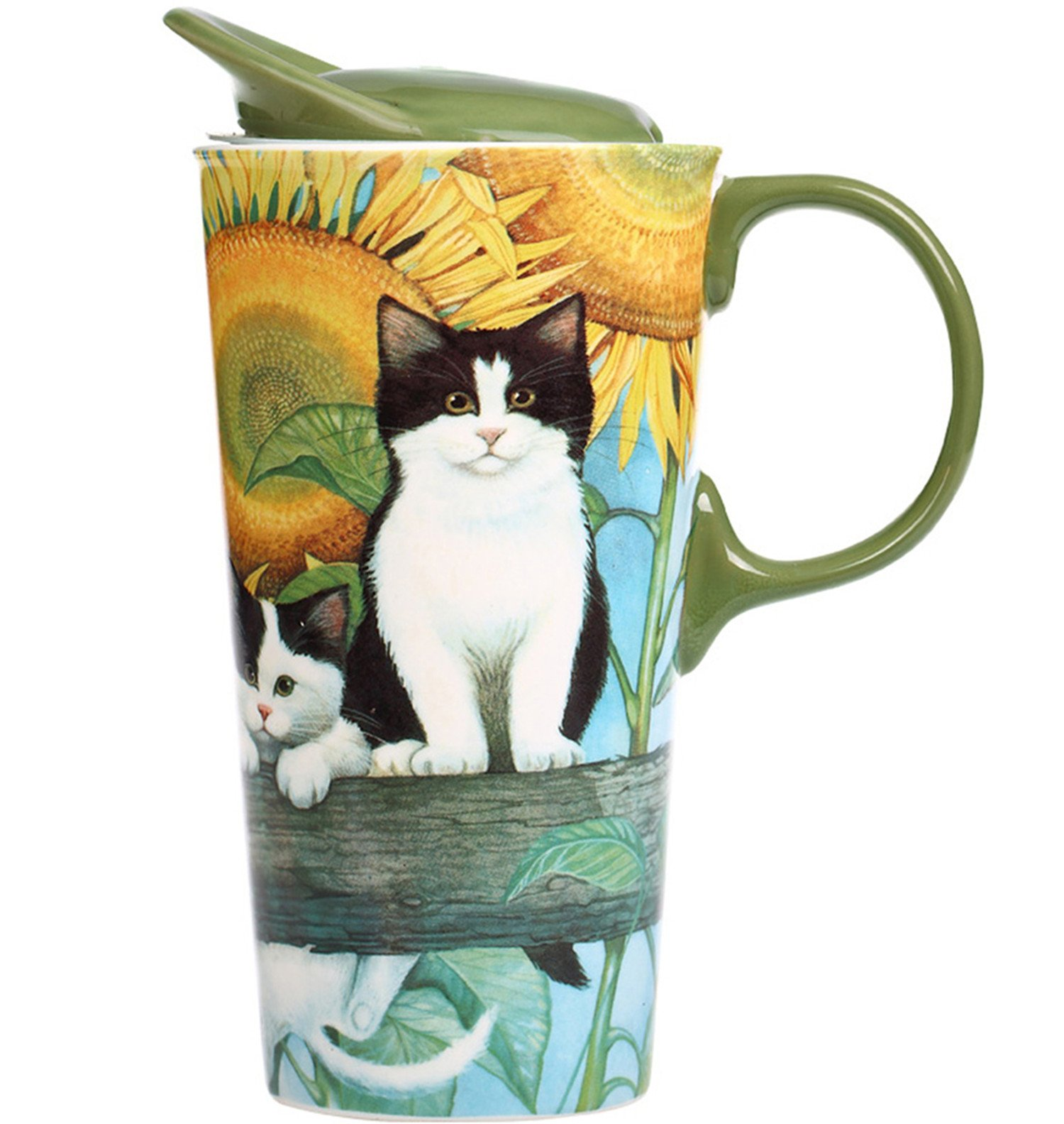CEDAR HOME Travel Coffee Ceramic Mug Porcelain Latte Tea Cup With Lid 17oz. Sunflower and Pet Cat