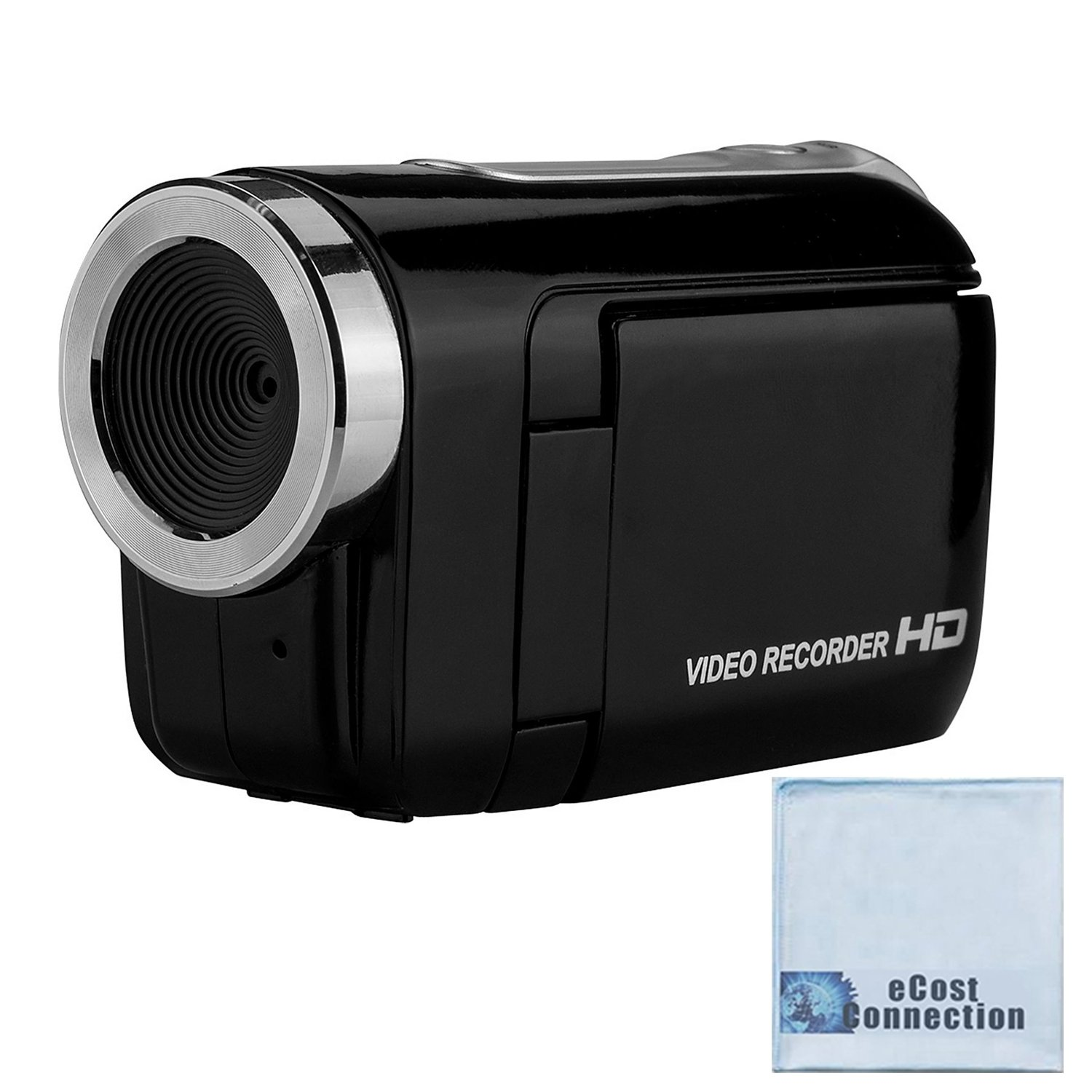 720P HD Compact Camcorder with 1.44'' Screen, Easy Editing Software CD & eCostConnection Microfiber Cloth