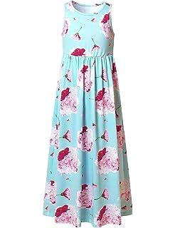 7625587950 Jxstar Girl Maxi Dress with Pockets Summer Floor Length Floral Sleeveless Short  Sleeve