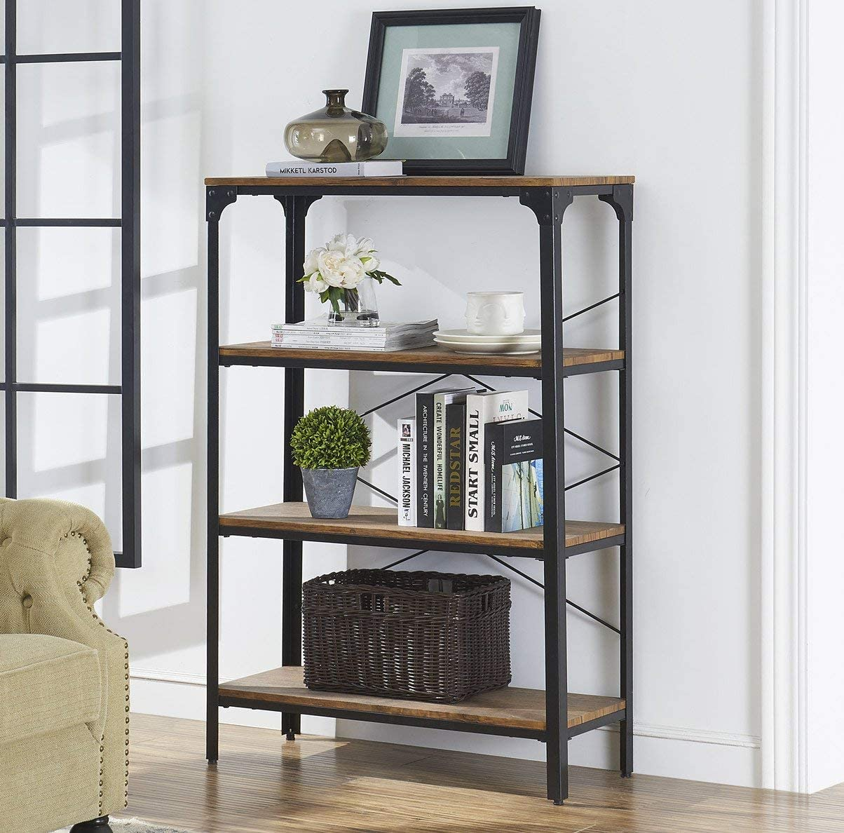 O K FURNITURE 4-Shelf Industrial Vintage Bookcase, Metal Bookshelf, 48 H x 33 W x 13 D, Barn-Wood Finish