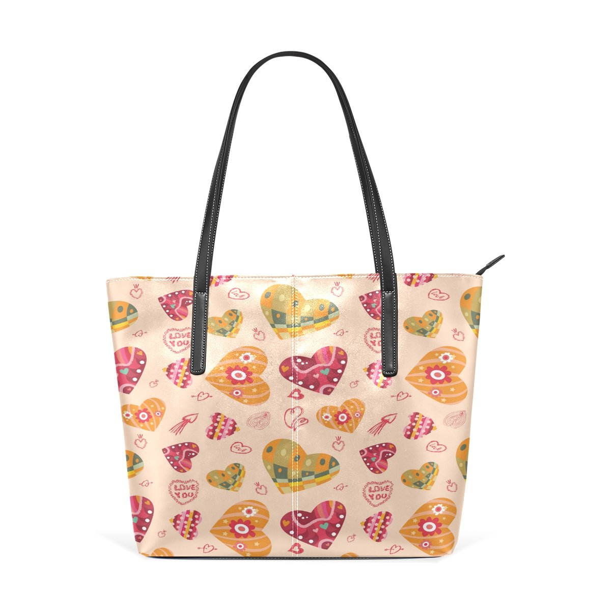 Womens Leather Top Handle Shoulder Handbag Heart Pattern Large Work Tote Bag
